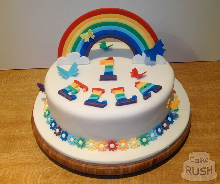 Rainbow and butterflies cake