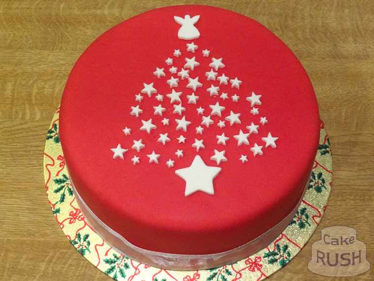 Christmas red and white cake